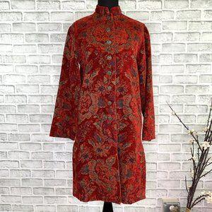 Chicos Floral Jacquard Button Mandarin Collar Coat